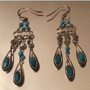 """Silpada Sterling Silver Turquoise /""""Chic Chandelier/"""" Magnesite Earrings W2838"""